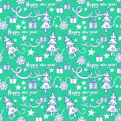 New year seamless vector pattern.