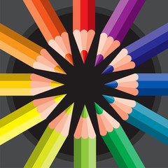 colored pencils in circle - vector illustration