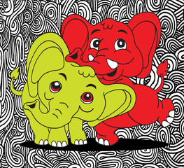Illustration of Cute cartoon elephant. Vector illustration