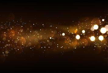 Defocused glitter lights background in dark gold and black color