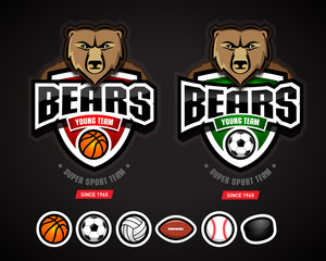 Bears sport logo team template/logotype constructor for basketball, soccer, volleyball, american football, baseball, hockey. Bear mascot. Vector illustration.
