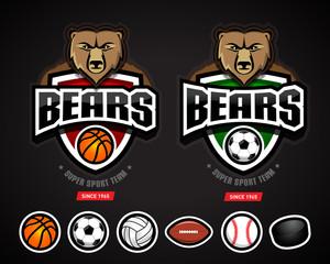 Bears sport logo team template/logotype constructor for basketball, soccer, volleyball, american football, baseball, hockey. Bear mascot. Vector illustration.