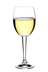 glass of white wine on white