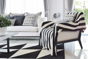 modern living room interior with black and white checked pattern