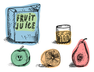 box with a glass of juice and lie below the apple , orange and pear