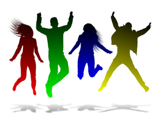 Four people jumping in the air