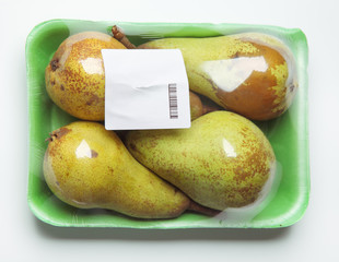Pack of pears on white background
