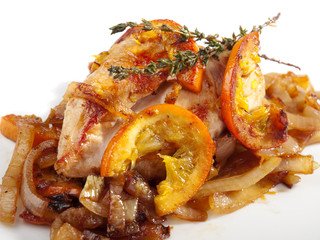 Chicken with onion and orange