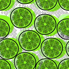 Cut limes seamless pattern