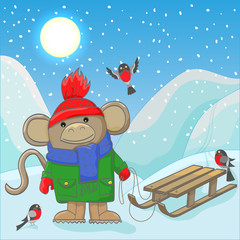 Illustration of funny monkey in winter clothing with sledges and bullfinches on a winter landscape