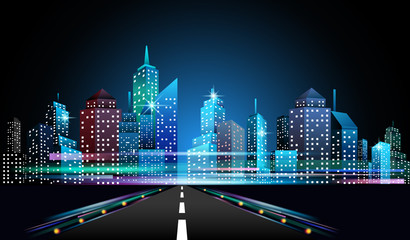 Night cityscape skyline