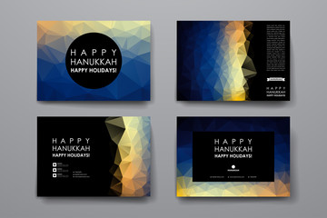Set of modern design banner template in Hanukkah style