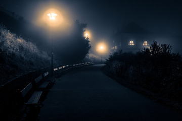 Scary scenery with night footpath leading towards lone house