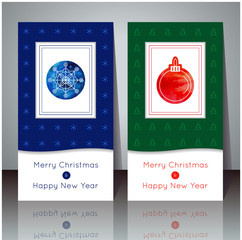 Vector illustration. Christmas and New Year greeting card. Winter cards with snowflake and ball. Holiday design. Party poster, greeting card, banner or invitation.