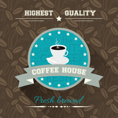 Coffee house. Vector illustration in flat design with label and background with coffee pattern.