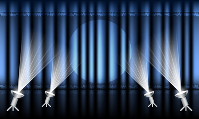 Theater stage with blue curtain and spotlights. Vector illustration.