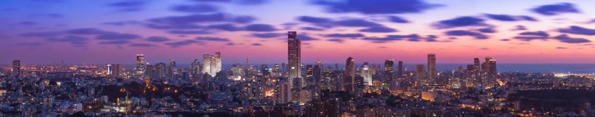 Tel Aviv Cityscape At Sunset Fototapete