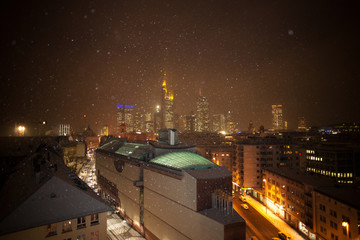 Frankfurt, Christmas, Snow, Skyline, Night