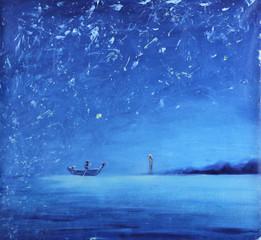 night fishing, oil painting
