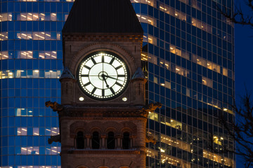 Classic clock tower of the old government building in toronto