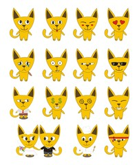 Set of yellow funny cats - vector