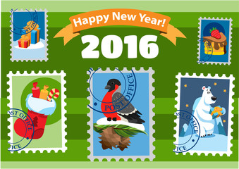 Set of happy new year postage stamps