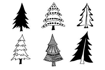 Set of tree doodles.tree doodle.vector illustration.