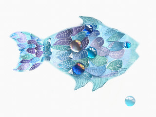 Art blue fish with scales as an leaves. Hand drawn illustration isolated on white background. Floral fish creative design.