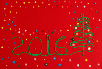 2016 Christmas tree on red felt