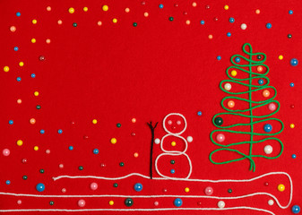 snowman and Christmas tree on red felt