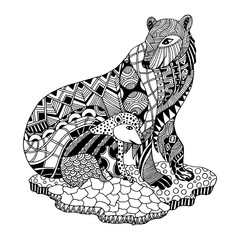 Vector Zentangle Polar Bear and Cub