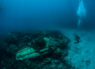 Scuba diver exploring crushed in WWII Japanese airplane Zero. Micronesia