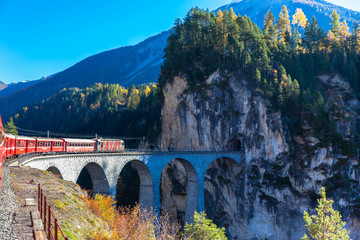Train running on Landvasser Viaduct