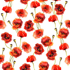 Flower watercolor backdrop with poppies