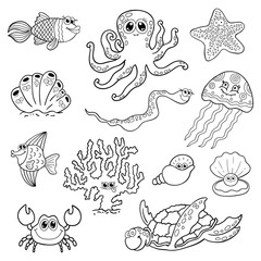 Set of marine life. Ocean fauna, underwater.