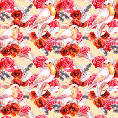 Seamless floral pattern with poppy, rose and birds. Watercolour