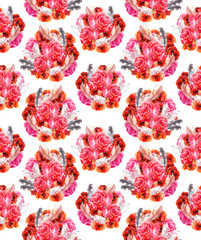 Seamless floral pattern with poppy, rose and birds. Watercolour background