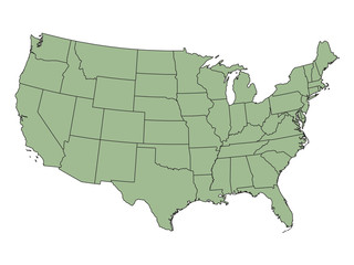 green map of United States