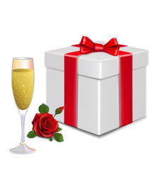 white  gift box. red  bow  .rose  . glass champagne.card