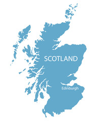 blue map of Scotland with indication of Edinburgh
