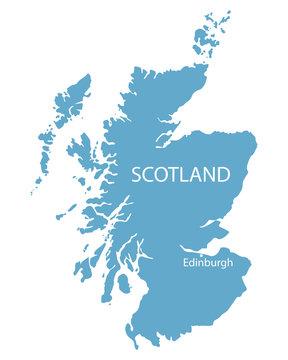 blue map of Scotland with indication of Edinburgh