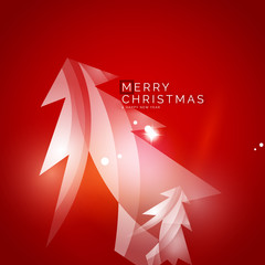 Christmas tree, red shiny abstract background