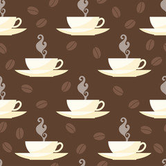 Coffee time theme. Seamless patten background with isolated cups