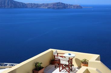 restaurant in Santorini, overlooking the sea