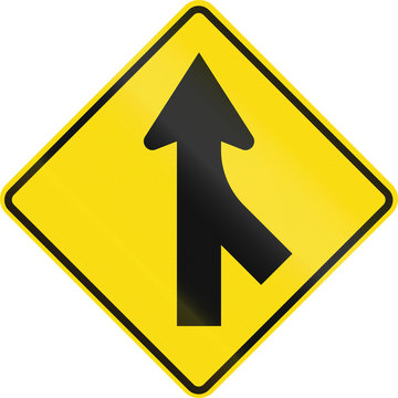 New Zealand road sign PW-4 - Merging traffic from right