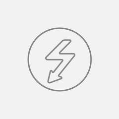 Lightning arrow downward line icon.
