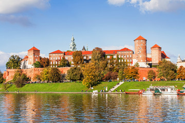Deurstickers Krakau Wawel hill with castle in Krakow