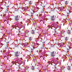 Bright floral pattern - colorful orchid flowers. Seamless template. Aquarelle background.