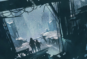 man and boy standing looking out at ruined city with snow storm,illustration painting Fototapete