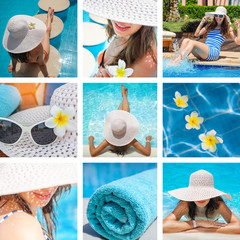 fashion collage of photos on the theme summer holiday on the beach